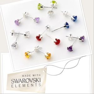 🔴firm🔴 925 SS colored crystal studs